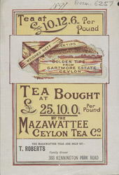 Advert for the Mazawettee Ceylon Tea Company